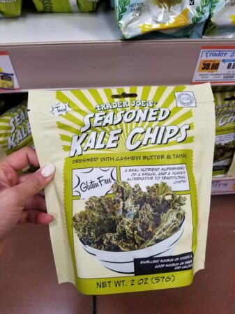 A package of Trader Joe's seasoned kale chips