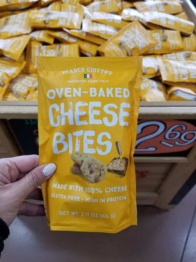 A package of Trader Joe's Oven-baked cheese bites