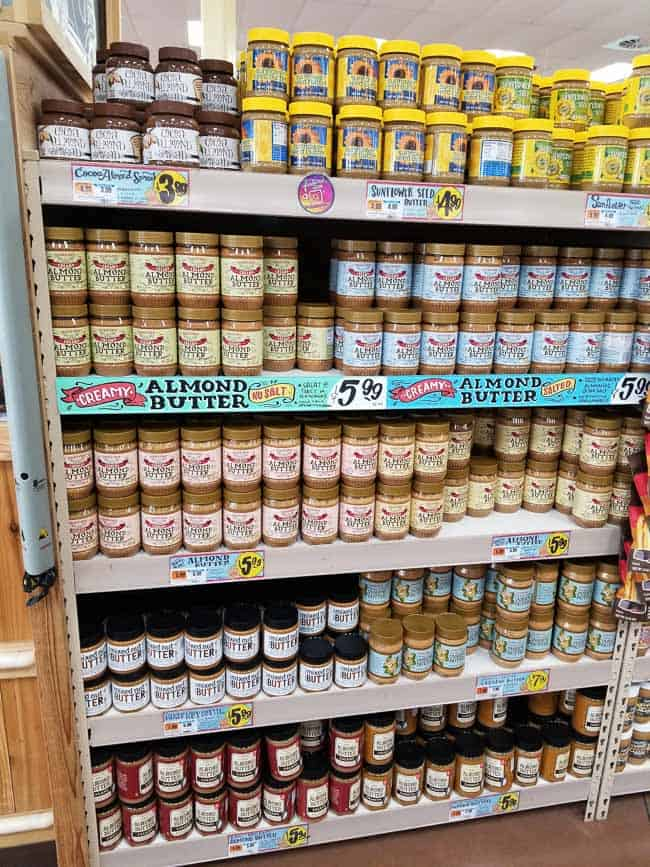 Shelves of nut butters at Trader Joe's