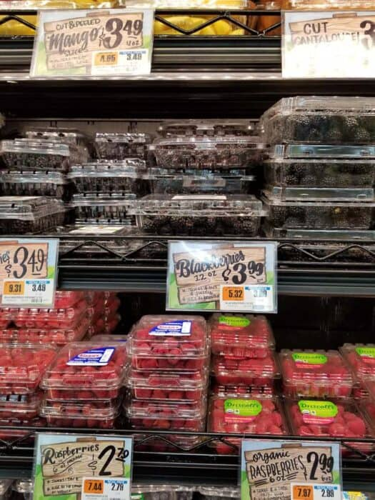Berries in a cooler section at Trader Joe's