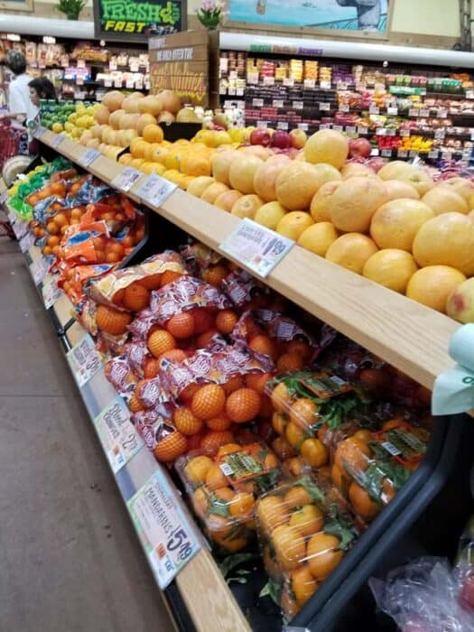 Fruit on shelves at Trader Joe's