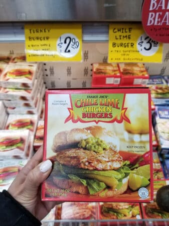 A package of Trader Joe's Chili Lime Chicken Burgers