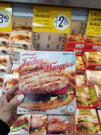 A package of Trader Joe's turkey burgers