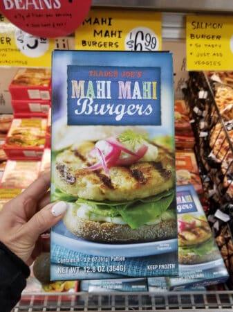 A package of Trader Joe's mahi mahi burgers