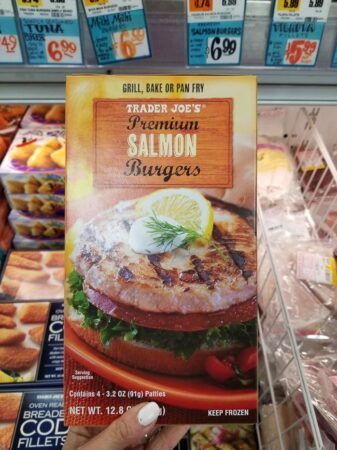 A package of Trader Joe's salmon burgers