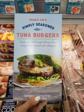 A package of Trader Joe's tuna burgers