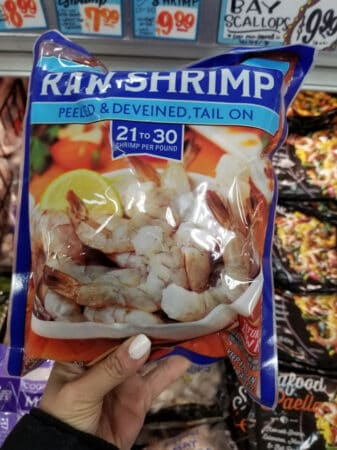 A package of Trader Joe's raw shrimp
