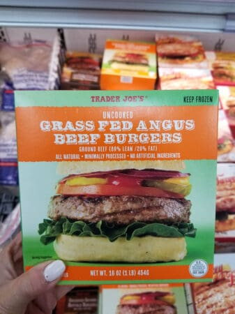A package of Trader Joe's angus beef burgers