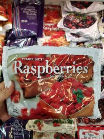 A bag of Trader Joe's raspberries