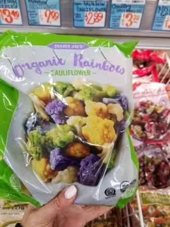 A bag of Trader Joe's rainbow cauliflower