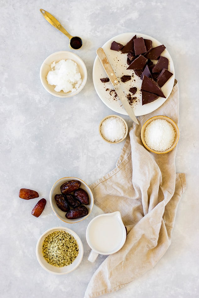 Overhead view of ingredients for keto chocolate truffles
