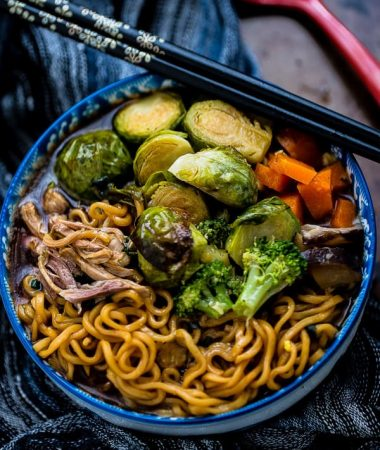 Turkey Brussels Sprouts Ramen Noodle Soup is perfect for using up Thanksgiving leftovers!