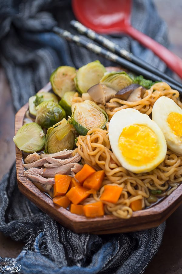 Turkey Brussels Sprouts Ramen Noodle Soup is perfect for using up Thanksgiving leftovers.