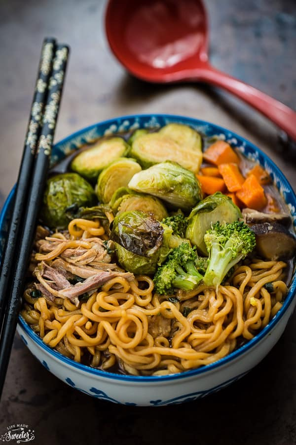 Turkey Brussels Sprouts Ramen Noodle Soup is perfect for using up Thanksgiving leftovers