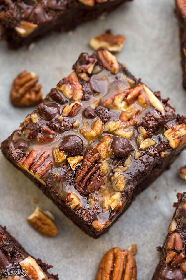 Top view of a Paleo Turtle Brownie