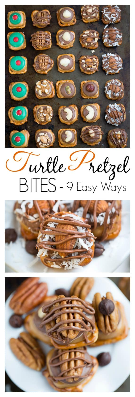Turtle Pretzel Bites with 9 Easy Ways are perfect for your holiday cookie platter.