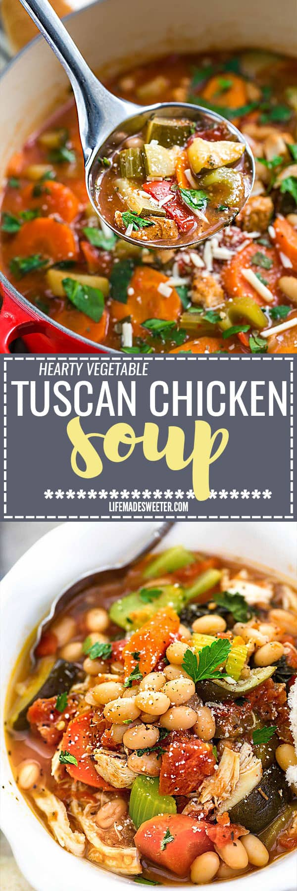 Hearty Vegetable Tuscan Chicken Soup makes the perfect comforting meal for busy weeknights. Best of all, it's so easy to make with just 15 minutes of prep time and it's full of hearty vegetables, white beans and chicken.