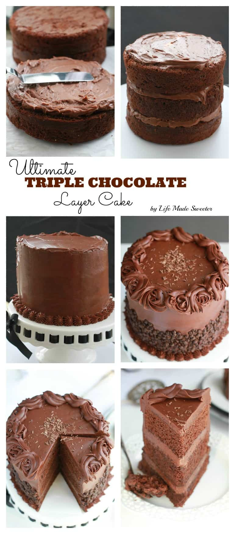 Ultimate Triple Chocolate Layer Cake - A triple layer devil's chocolate cake with milk chocolate frosting and partially covered with mini chocolate chips.