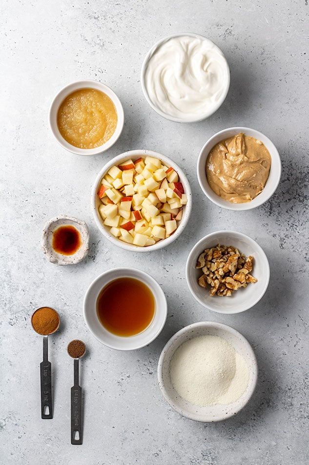 Overhead view of ingredients for Apple Dip in individual bowls