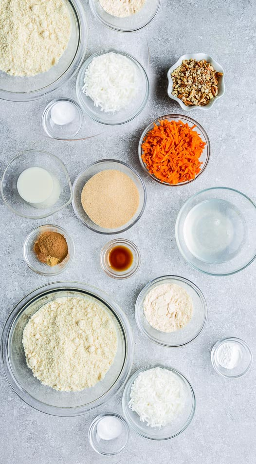 Top view of ingredients to make carrot cake bars