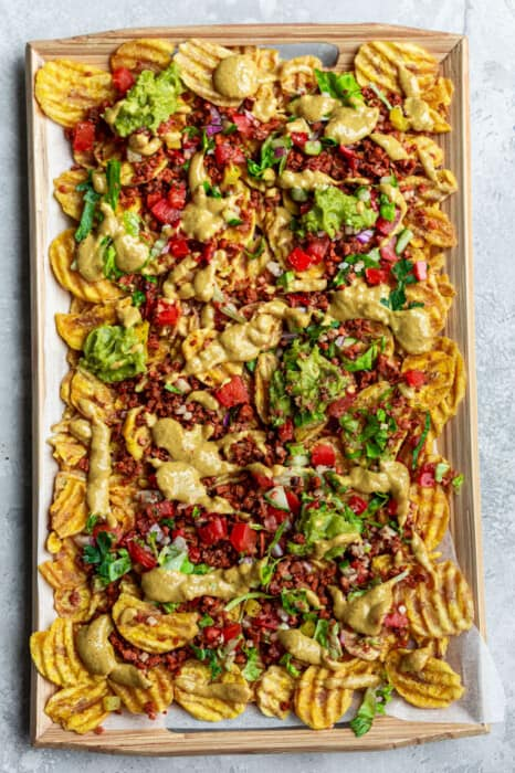 Overhead view of a tray of Vegan Nachos