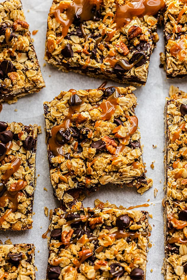 Overhead view of Healthy Oatmeal Bars with caramel drizzle