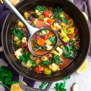 Detox Vegetable Soup - perfect for nourishing your body and getting back on track after the holidays. Best of all, this healthy one pot recipe is loaded with healthy vegetables and herbs. It's vegan, gluten free, refined sugar free, paleo, whole 30 and low carb (keto) friendly.