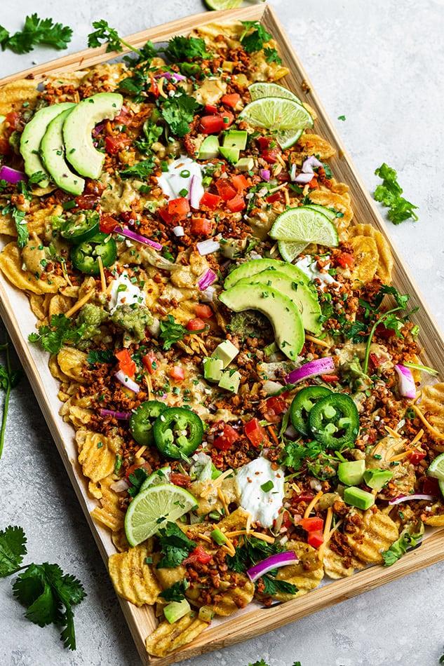 Overhead view of a pan of Vegan Nachos