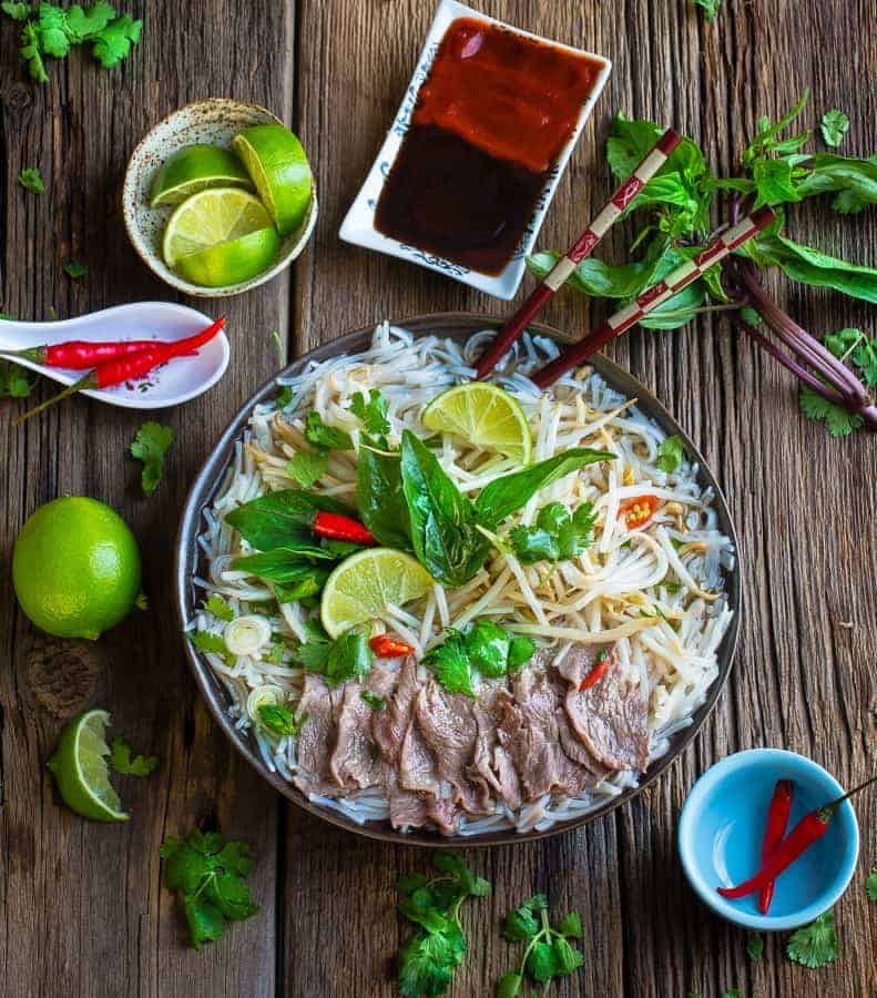 Vietnamese Pho Beef Rice Noodle Soup {Slow Cooker}