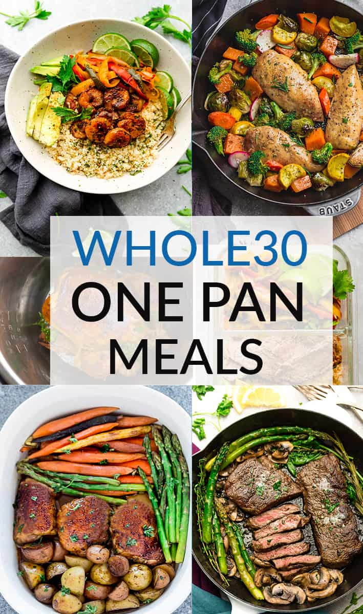 Collage for Whole 30 One Pan Meals with six examples