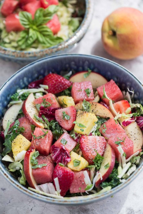Watermelon Strawberry and Basil Salad