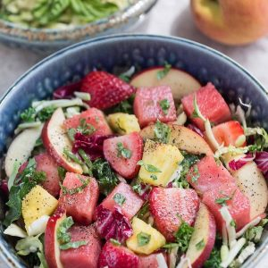 Watermelon Strawberry Basil Balsamic Salad makes the perfect ligth & healthy dish