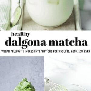 Pinterest collage for healthy dalgona matcha
