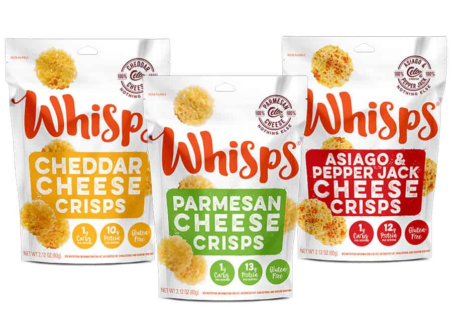 Three varieties of bags of Whisps cheese crisps