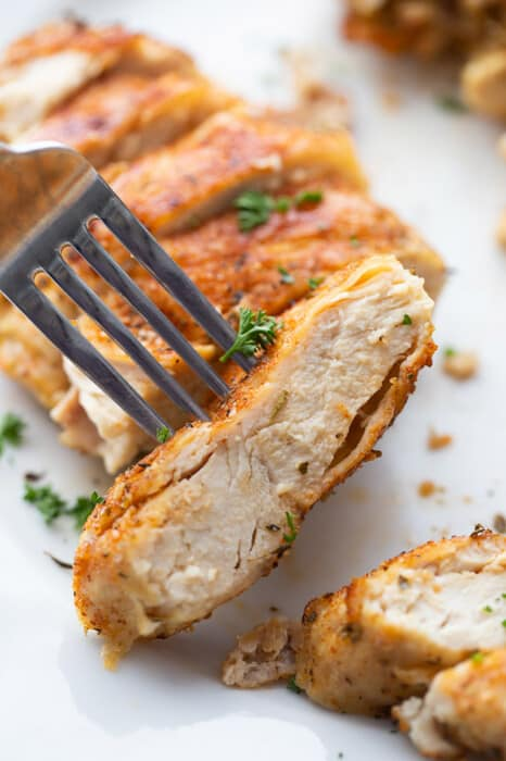 Close-up view of chicken breast on a plate with a fork