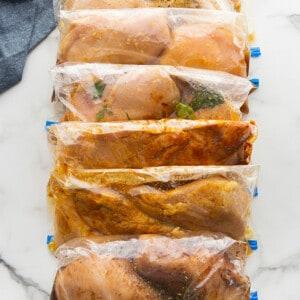 6 marinated chicken breasts in ziplock bags