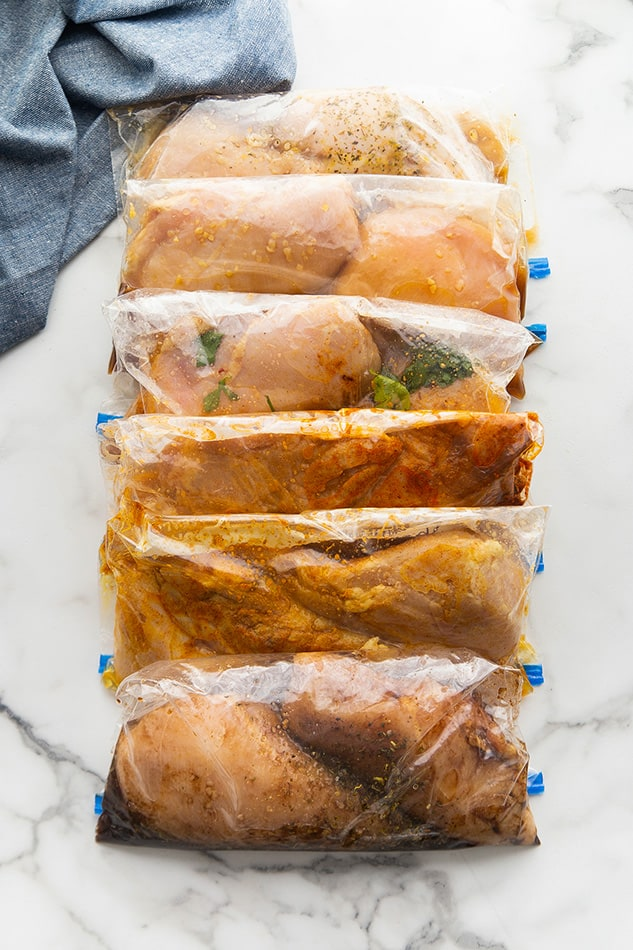 6 marinated chicken breasts in ziplock bags