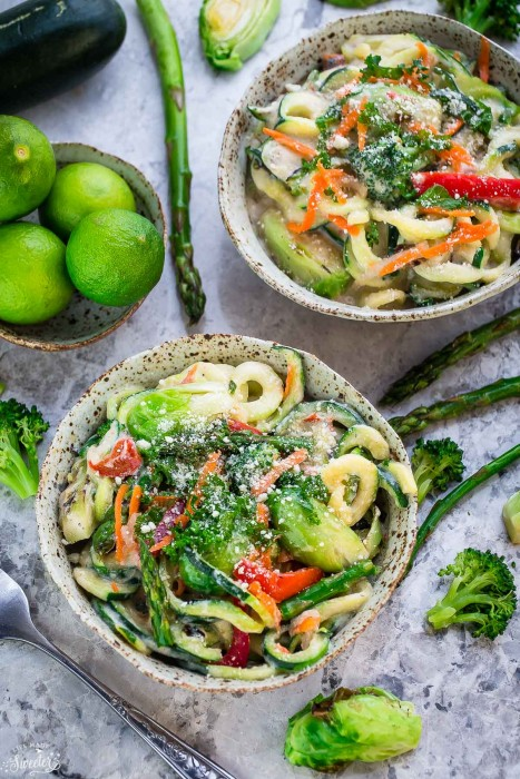 Cauliflower Alfredo Zoodles with Asparagus and Spring Vegetables