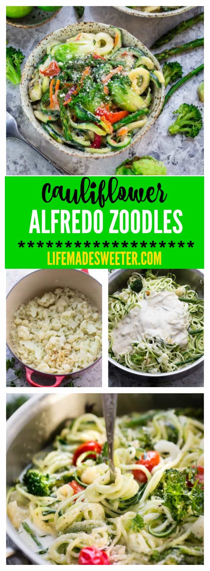 Zoodles Cauliflower Alfredo makes an easy & healthy weeknight meal. Gluten Free, Vegan, Paleo, Whole 30 -