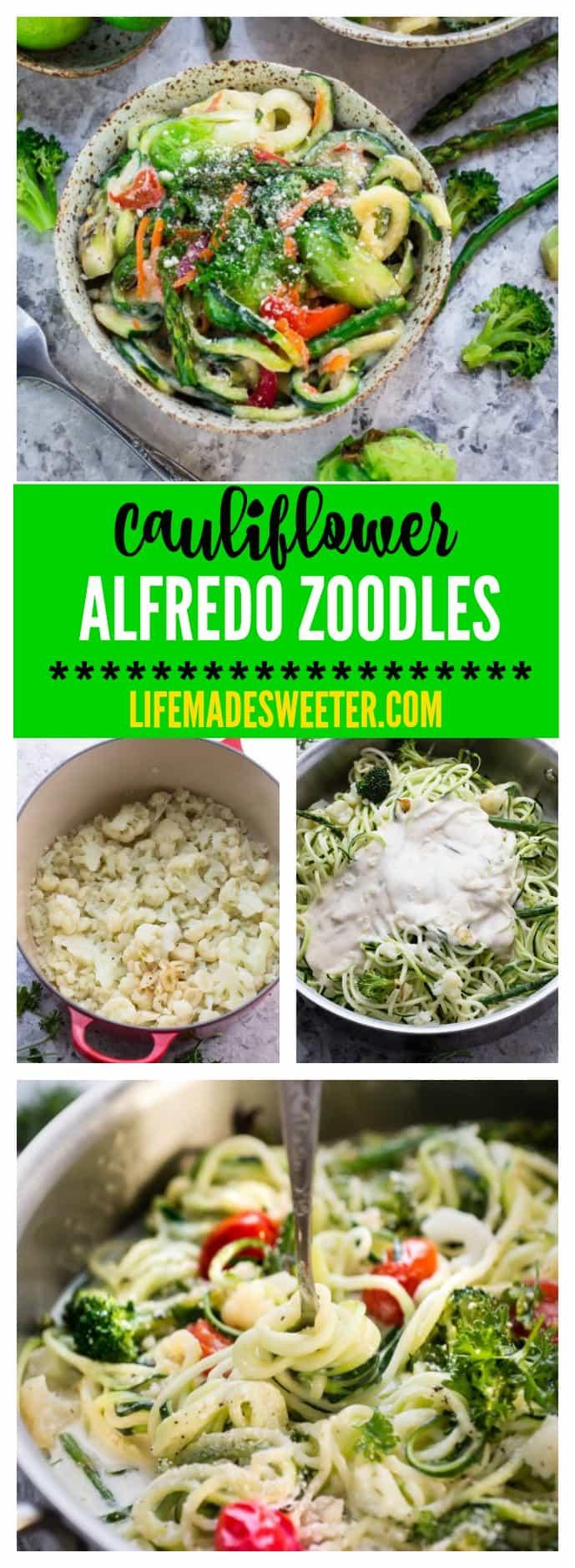 Zoodles Cauliflower Alfredo makes an easy & healthy weeknight meal. Gluten Free, Vegan, Paleo, Whole 30 -