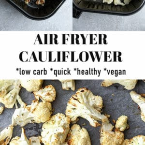 Second Pinterest image for cauliflower made in the air fryer.
