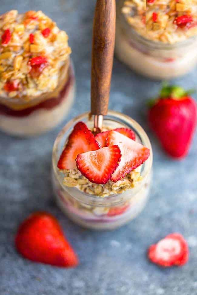Overhead image of the best strawberry overnight oat recipe with oats.