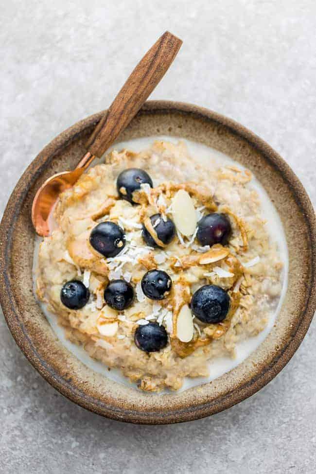 Bird's eye view of fresh blueberry oatmeal