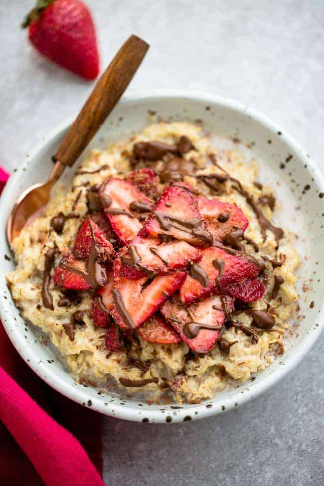 overhead image of strawberry steel cut oatmeal recipe
