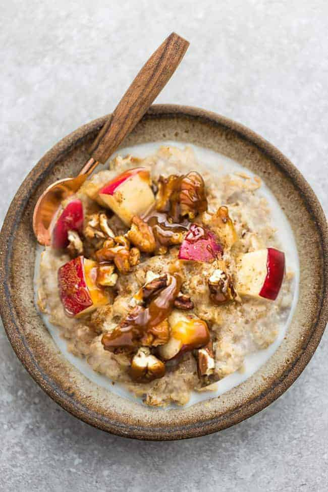 Apple cinnamon oatmeal recipe from above with spoon