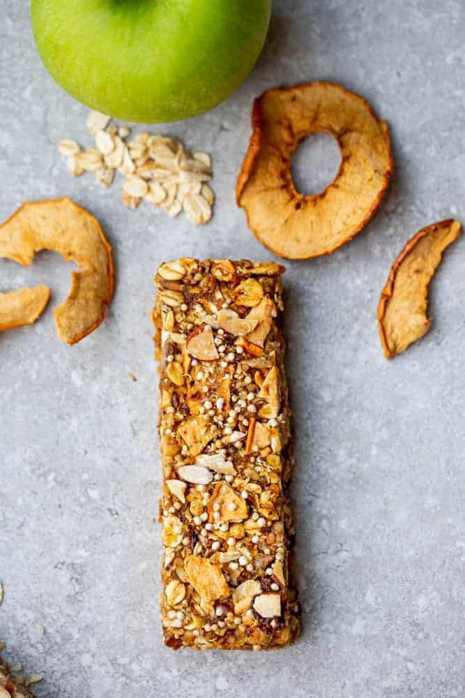 Overhead photo of apple cinnamon quinoa granola bar recipe with oats.