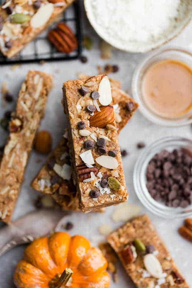 Overhead image of granola bars as the best recipes with oats.