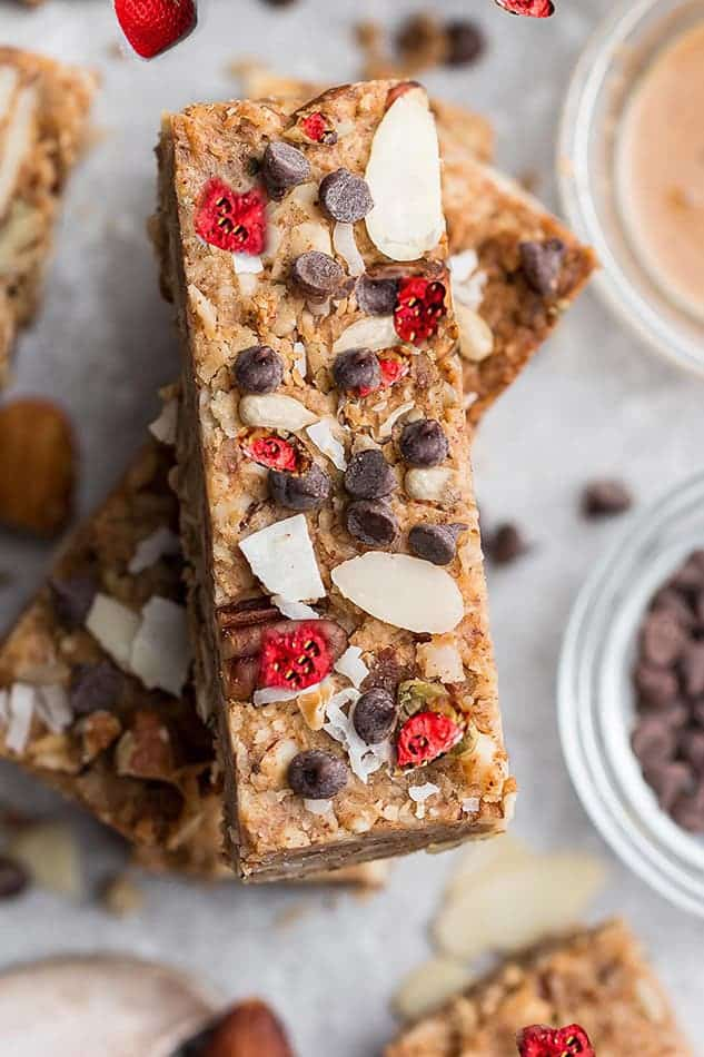 Overhead image of strawberry granola bars as the best recipes with oats.