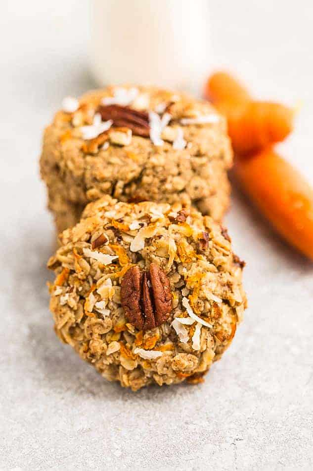 Image of the best carrot cake cookies made with oats.