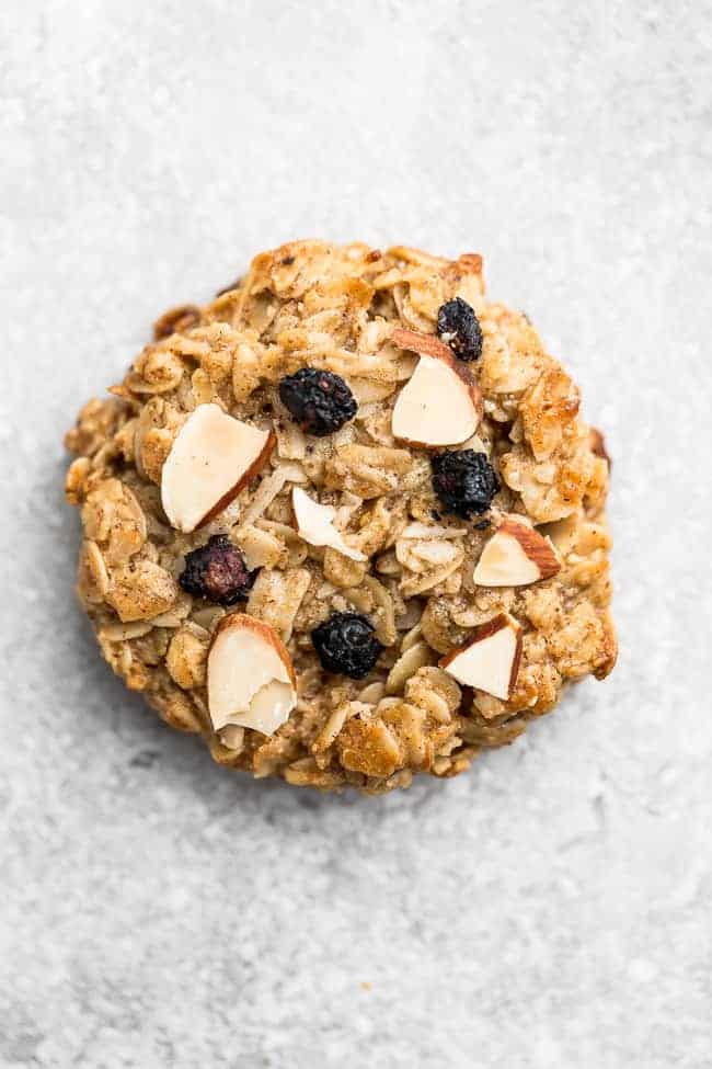 Overhead image of blueberry cookie as the best oat recipes.